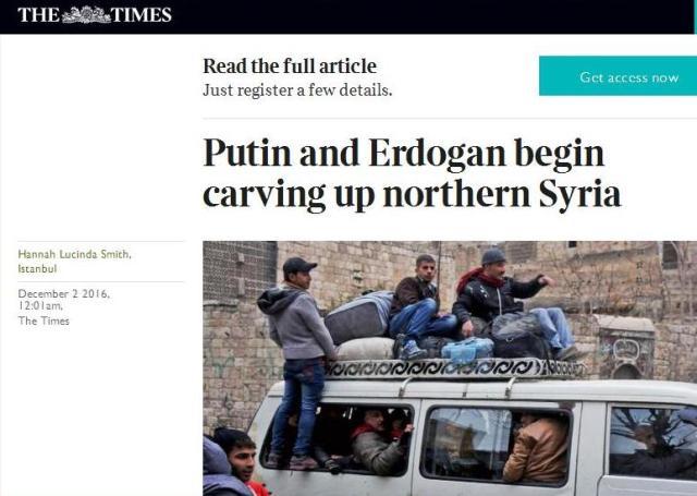 """The Times: Ankara a Moskva si podelili """"zóny vplyvu"""" v Sýrii"""