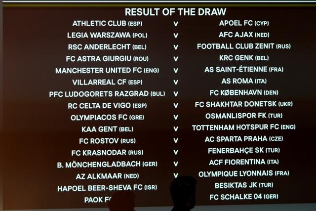 Na snímke vyžrebované dvojice šestnásťfinále futbalovej Európskej ligy