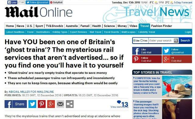Daily Mail: Vo Veľkej Británii premávajú vlaky – prízraky, avšak ich nik nemieni zrušiť