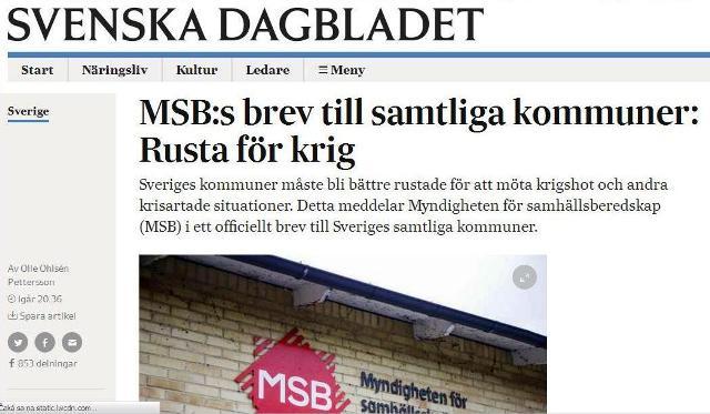 Švédska vláda a armádne vedenie odporúčajú obyvateľom krajiny, aby sa pripravovali na vojnu proti Rusku