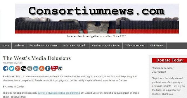 Consortiumnews: Pluralizmus amerických médií je to iba fikcia