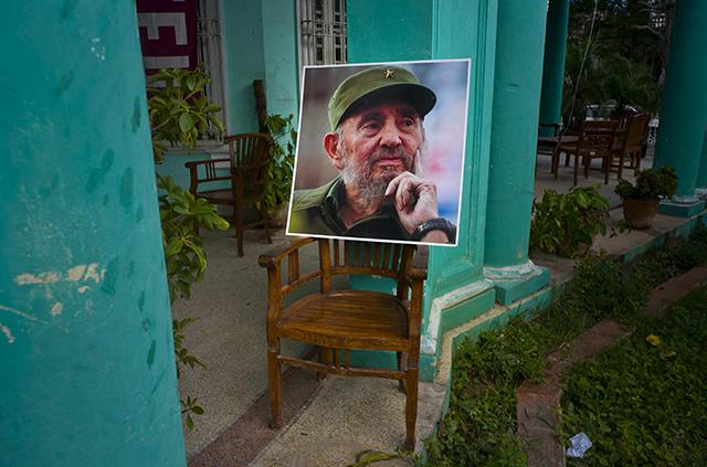 Portrét kubánskeho komunistického vodcu Fidela Castra