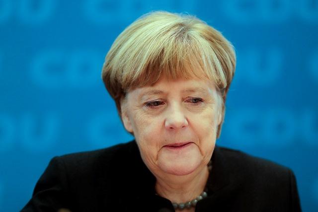 Na snímke nemecká kancelárka Angela Merkelová prichádza na zjazd Kresťanskodemokratickej únie Nemecka (CDU)