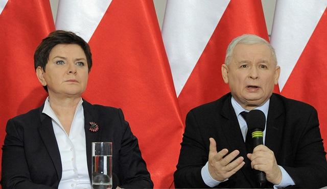 Na snímke vodca poľskej vládnucej strany Právo a spravodlivosť (PiS) Jaroslaw Kaczyňski a poľská premiérka Beata Szydlová