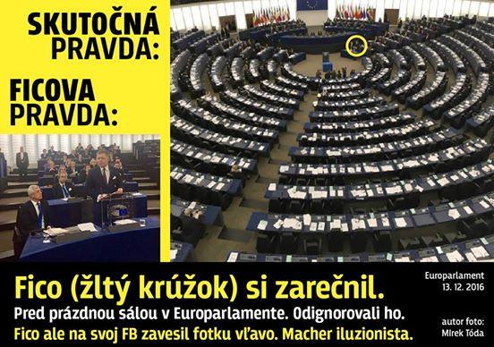 Fotka ktorú zverejnil Matovič a ktorá zachytáva poloprázdne lavice Európskeho parlamentu počas vystúpenia Roberta Fica v Bruseli