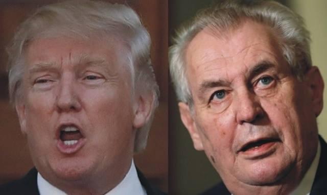 Donald Trump vľavo a Miloš Zeman vpravo