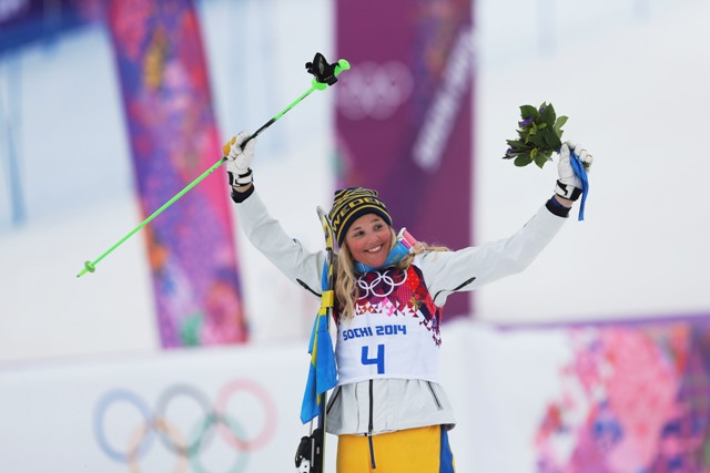 Na snímke švédska akrobatická lyžiarka Anna Holmlundová
