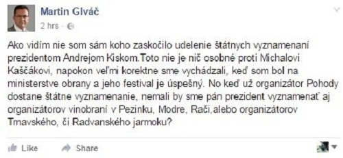Status Martina Glváča na sociálnej sieti k udeľovaniu štátnych vyznamenaní Andreja Kisku