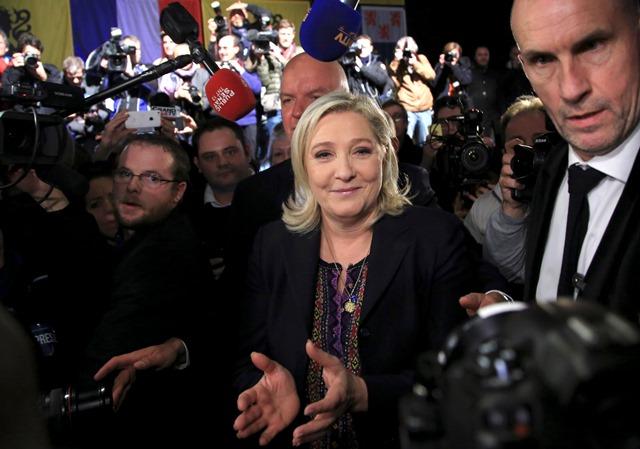 Na snímke predsedníčka francúzskej ultrapravicovej strany Národný front (FN) Marine Le Penová