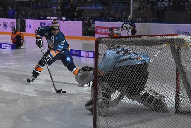 Na snímke Arne Kroták z Tímu Bondra v samostatnom nájazde počas All Star víkendu  hokejovej Tipsport Ligy