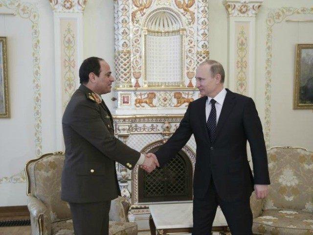 Na snímke vľavo Abd al-Fattáh as-Sísí  a Vladimir Putin Fot: ScreenShot Youtube