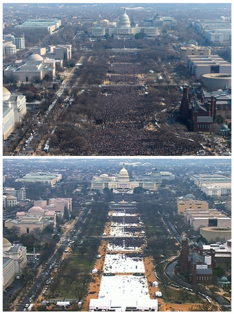 Na kombosnímke hore je pohľad na dav ľudí počas inaugurácie amerického prezidenta Baracka Obamu 20. januára 2009 a dole pohľad na dav ľudí počas inaugurácie amerického prezidenta Donalda Trumpa 20. januára 2017 vo Washingtone