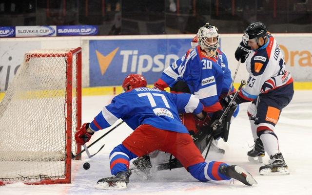 Úvodný gól Slovenska v prípravnom hokejovom zápase pred medzinárodným turnajom Slovakia Cup Slovensko - Rusko