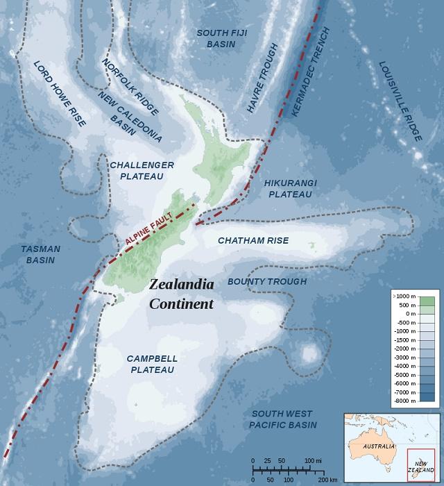 Mapa južnej časti Zealandie
