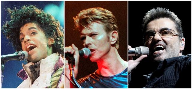 Na kombo snímke zosnulé ikony popovej hudby zľava Prince v roku 1985, David Bowie v roku 1995 a George Michael v roku 2008