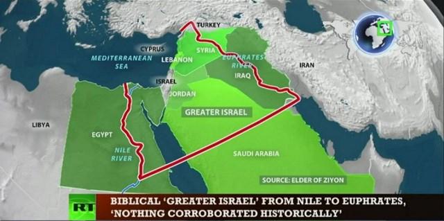 Na snímke mapa plánu Veľkého Izraela