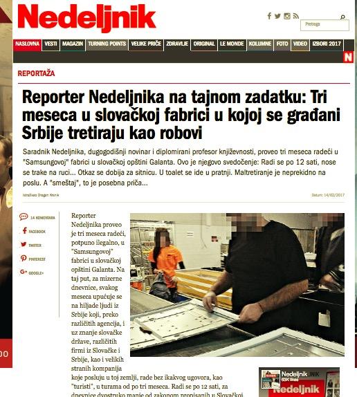 Článok v srbskom týždenníku Nedjelnik