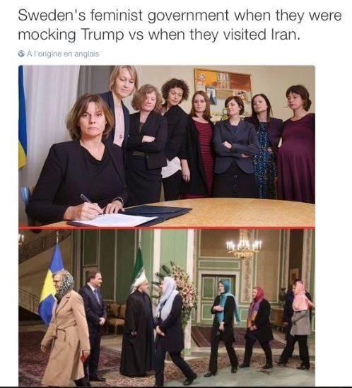 Na zamyslenie: hore - švédska vláda protestujúc proti Trumpovi; dole - na návšteve Iránu