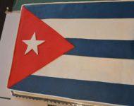 Na snímke kubánska vlajka