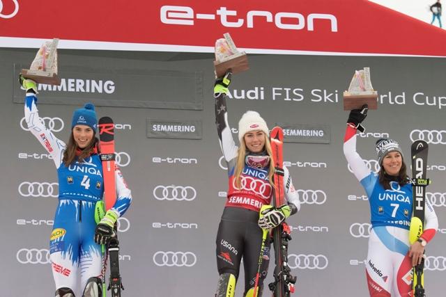 5678e691f Slovenská lyžiarka Petra Vlhová (vľavo) sa teší na pódiu po sobotňajšom  slalome Svetového pohára žien v rakúskom Semmeringu 29. decembra 2018.