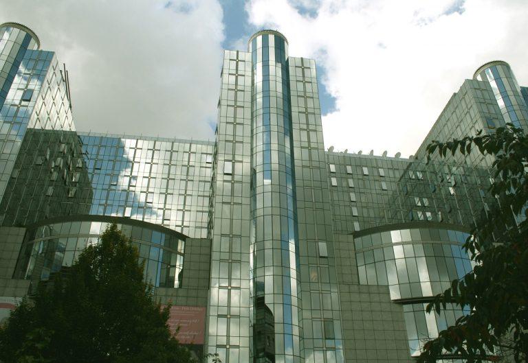 pohľad bruselská budova sídlo Európsky parlament EP