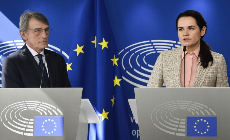 David Sassoli , Sviatlana Cichanovská, Bielorusko, EÚ