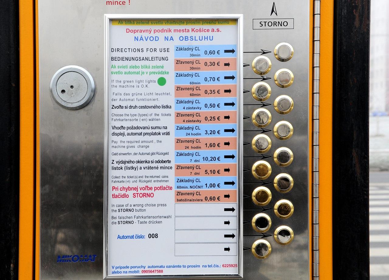automat, cestovné lístky