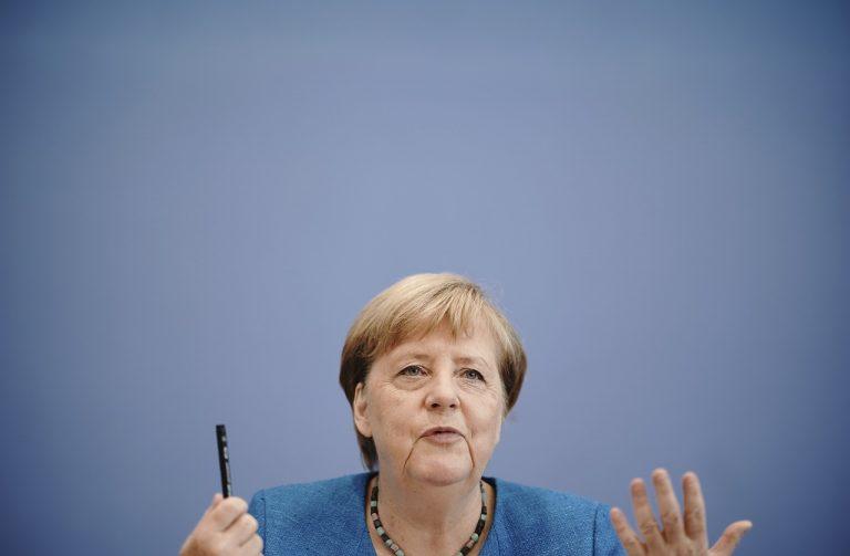 Angela Merkelová Berlín tlačová konferencia