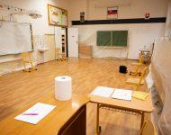 Miestnosť na registráciu občanov SR na Základnej škole Janka Matúšku v Dolnom Kubíne počas pilotného testovania miestneho obyvateľstva v rámci operácie Spoločná zodpovednosť, týkajúcej sa celoplošného testovania Slovákov v súvislosti s ochorením COVID-19 spôsobeným koronavírusom na Slovensku. Dolný Kubín, 23. október 2020.