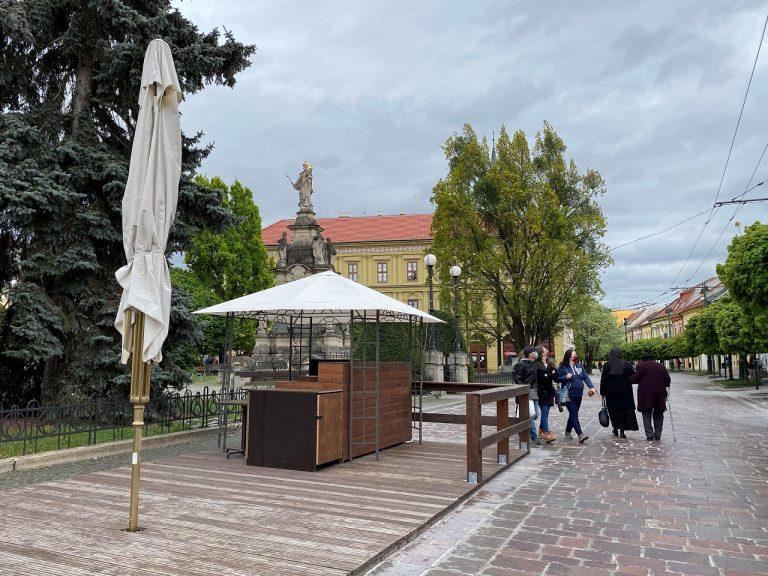 letná terasa v Prešove Hlavná ulica