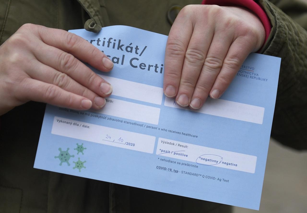 testovanie, certifikát
