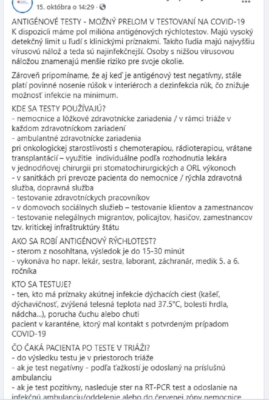 testy, antigénové, Ministerstvo zdravotníctva