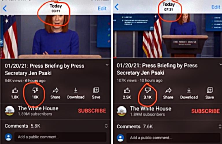 """Sily, ktoré dostali Bidena do prezidentskej funkcie, pokračujú vo svojich metódach aj po voľbách. Na oficiálnom Youtube kanáli Bieleho domu bol príliš veľký nepomer medzi """"lajkmi"""" a """"dislajkmi""""? Žiadny problém, čísla sa upravia a je vybavené..."""