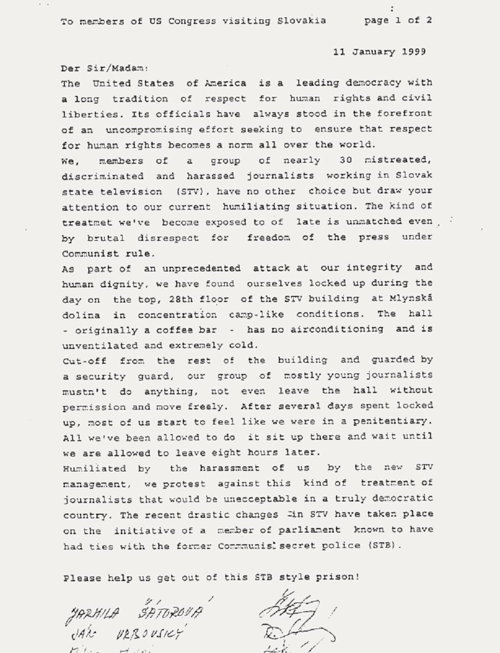 List internovaných zamestnancov STV americkým kongresmanom.