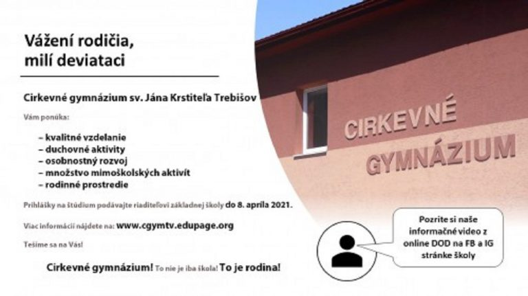 Cirkevné gymnázium v Trebišve otvára svoje dvere deviatakom
