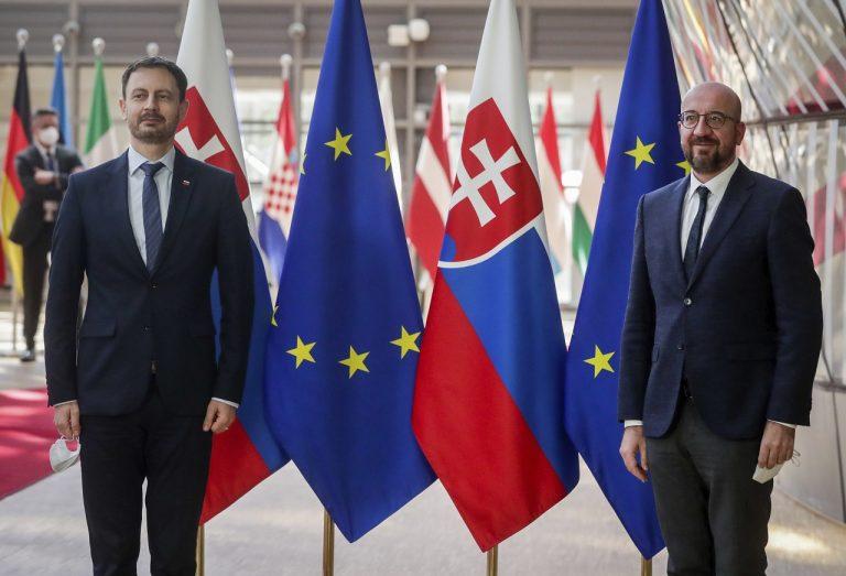 slovenský premiér Eduard Heger a Charles Michel