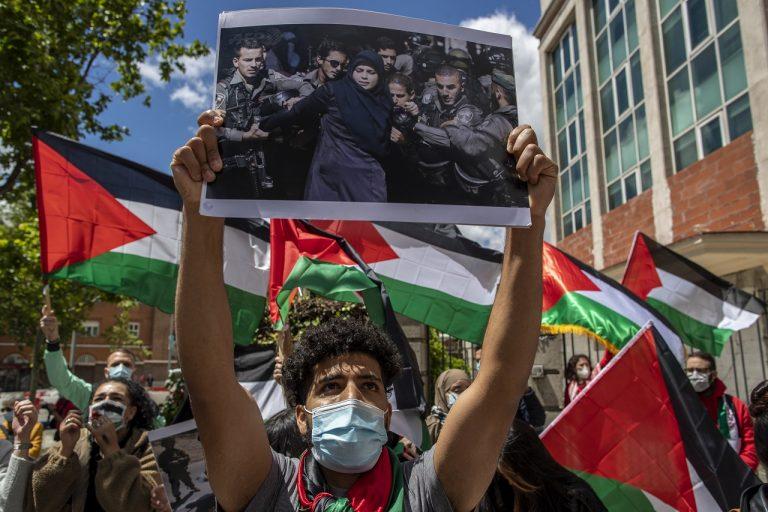 Protest proti Izraelu v Španielsku