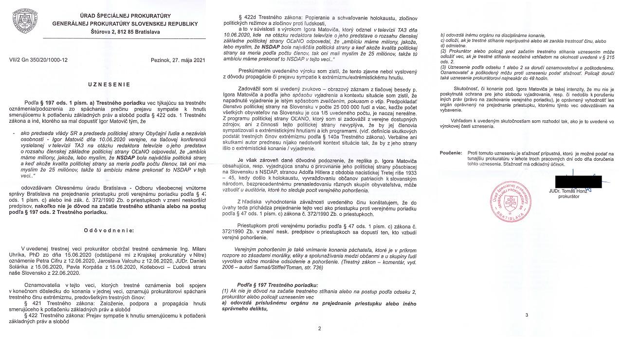 Uznesenie Honz - Matovič