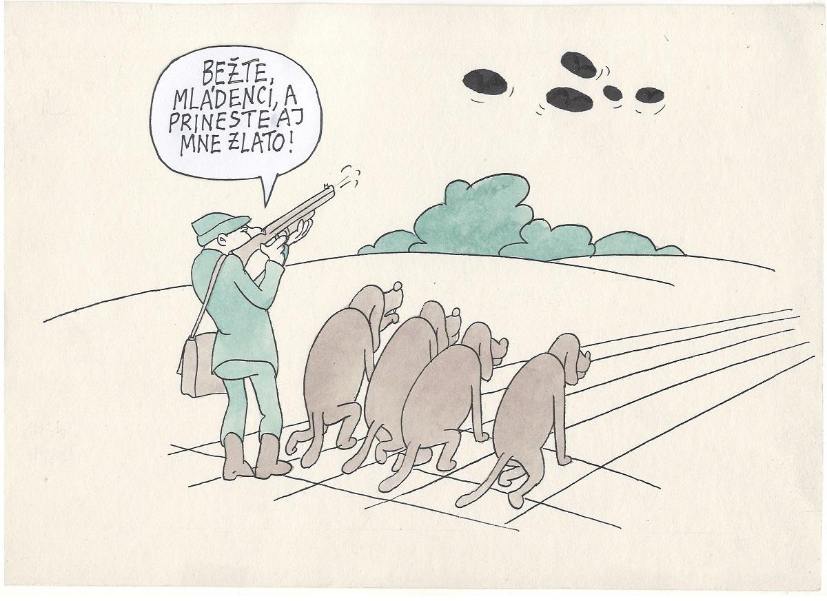 karikatúra, Lovec zlata, inšpirovaný zlatom Štefečekovej v trape