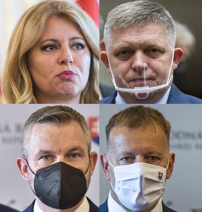 Zuzana Čaputová, Robert Fico, Peter Pellegrini a Boris Kollár