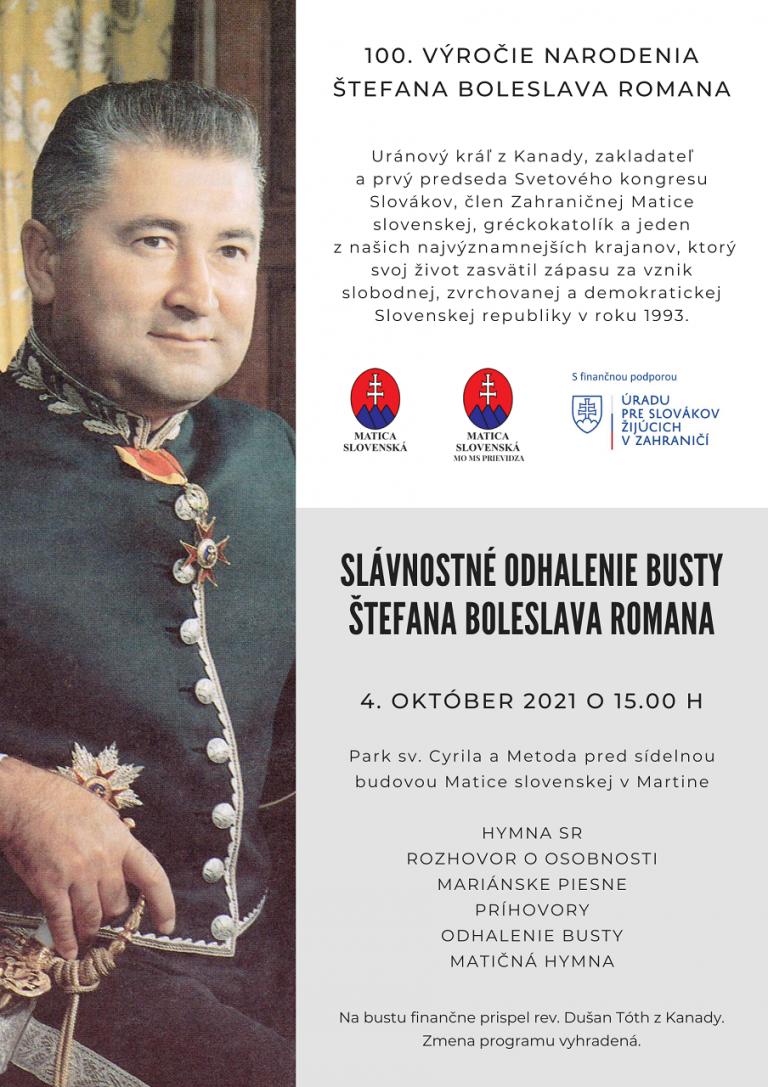 Plagát - busta Štefana Boleslava Romana