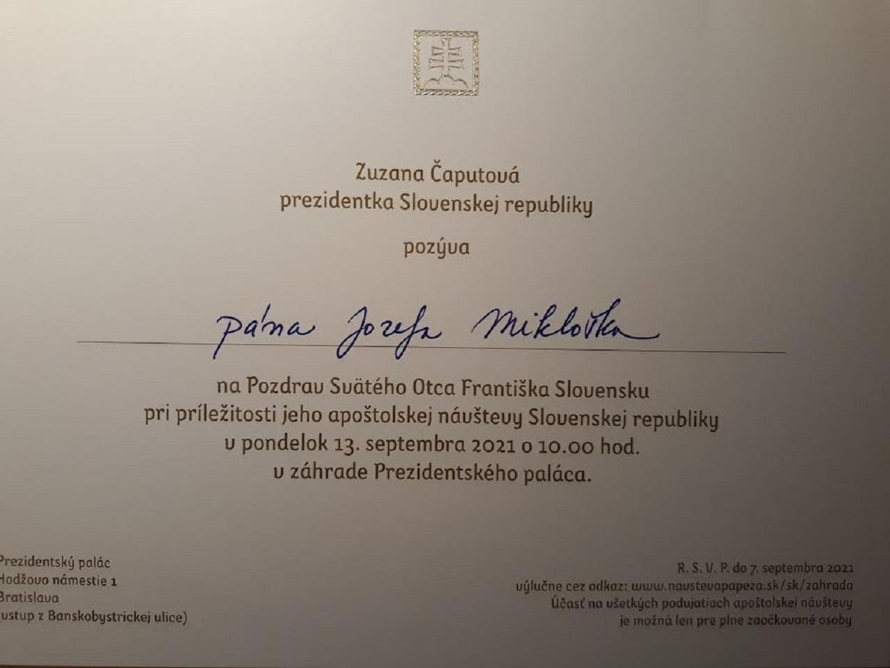 pozvánka Jozef Mikloško
