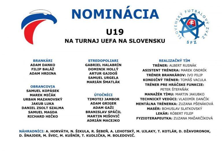 Slovenskí futbalisti do 19 rokov