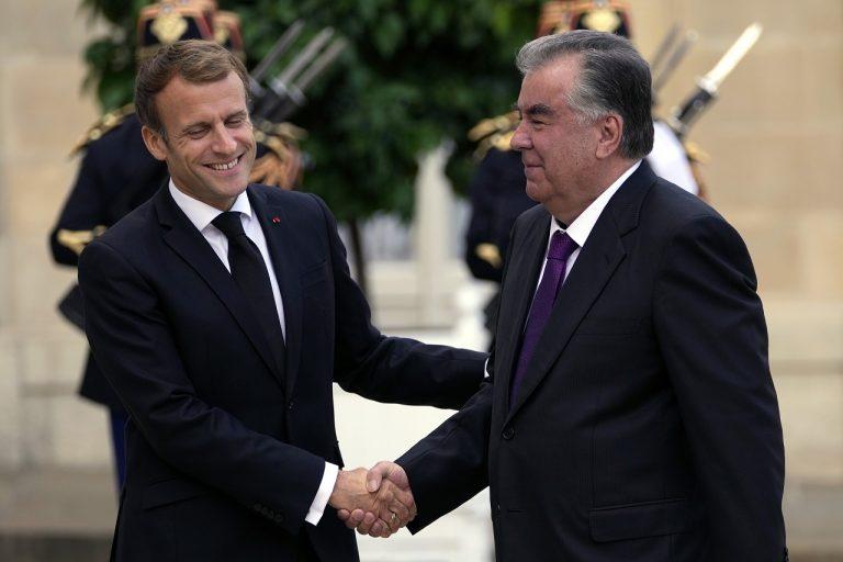 Emmanuel Macron Emomali Rahmon